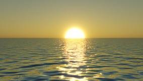 Illustration av soluppgången ovanför havsnivå Royaltyfri Illustrationer