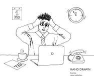 Illustration av spänningen på arbete Den unga affärsmannen rymmer hans huvud som ser bildskärmen hårställning på slut Mycket royaltyfri illustrationer