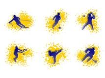 Illustration av sportar: tennis hockey, skidar royaltyfri illustrationer