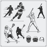 Illustration av sportspelare Fotboll, baseball och lacrosse royaltyfri illustrationer