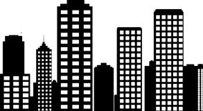 Illustration av staden i monokromen Arkivfoto