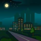 Illustration av staden på natten Arkivbild