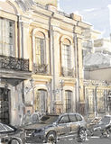 illustration av stadsscape. Fotografering för Bildbyråer