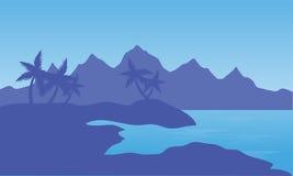 Illustration av stranden och berget stock illustrationer