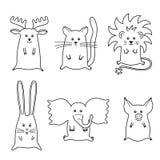 Illustration av 6 tecknad filmdjur Royaltyfri Illustrationer
