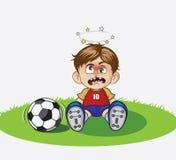 Illustration av tecknad filmpojken som spelar fotboll Fotografering för Bildbyråer