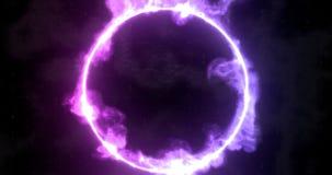 Illustration av tolkningen 3D Den futuristiska science fictionen g?r sammandrag r?da och bl?a diagram f?r neonljus p? bakgrunden  royaltyfri foto