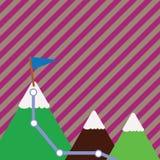 Illustration av tre färgrika berg med slingan och den vita snöig överkanten med flaggan på ett maximum idérik bakgrund stock illustrationer
