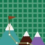 Illustration av tre färgrika berg med slingan och den vita snöig överkanten med flaggan på ett maximum idérik bakgrund royaltyfri illustrationer