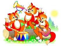 Illustration av tre gulliga lilla rävar som spelar musikinstrument i orkestern Täcka för behandla som ett barn boken Vektorteckna arkivfoton