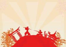 illustration av två ninjas i duell Arkivfoto