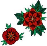 Illustration av två röda rosor på en vit bakgrund royaltyfri illustrationer