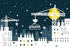 Illustration av under-konstruktionsplatsen med byggnad Royaltyfria Bilder