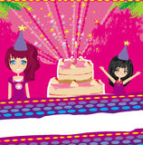 illustration av ungar som firar ett födelsedagparti Royaltyfri Foto