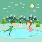 Illustration av ungar som har gyckel i vintern som åker skridskor isbanan/barnet royaltyfri illustrationer