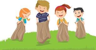 Illustration av ungar som har gyckel med säckar på en äng vektor illustrationer