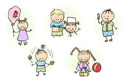Illustration av ungar som spelar med bollballongen Arkivfoton