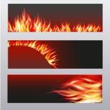 Illustration av uppsättningen av brandflammabanret Royaltyfria Bilder