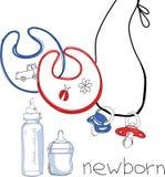 Illustration av uppsättningen för nyfött Arkivfoton