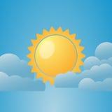 Illustration av vädervillkor molnigt delvis också vektor för coreldrawillustration royaltyfri illustrationer