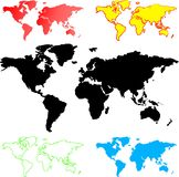 Illustration av världskartor Arkivbild