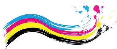 Illustration av vågen för cmykprintingfärg med färgstänk av färg stock illustrationer