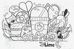 Illustration av vektorklotter som dras av handen på temat av tid för kaffe Fotografering för Bildbyråer