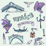 Illustration av vektoruppsättningen av Venedig Fotografering för Bildbyråer
