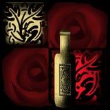 Illustration av vinflaska och dekorativ beståndsdelrestaurang M Royaltyfria Foton