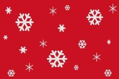 Illustration av vita snöflingor på röd bakgrund Arkivfoto