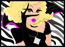 Posing. Illustration of an avant garde fashion woman posing gaga style. Zebra print background. Blonde haired female with black ruffle clothing with a touch of stock illustration