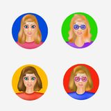 Illustration with avatars women. Avatars for employees, for friends, for business women. Cartoon image of a set of women. Illustration with avatars women Stock Images