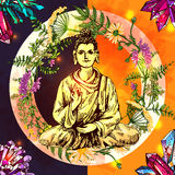 Illustration avec Bouddha illustration de vecteur