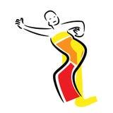 Illustration avec danser la danse indonésienne de femme dans le style indonésien traditionnel illustration libre de droits
