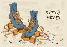 Illustration avec de rétros patins de rouleau Images stock