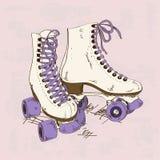 Illustration avec de rétros patins de rouleau illustration de vecteur