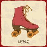 Illustration avec de rétros patins de rouleau Photos stock