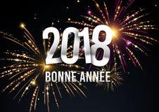 illustration 2018 avec des feux d'artifice à l'arrière-plan illustration stock