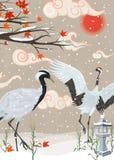 Illustration avec des grues et des chutes de neige au coucher du soleil illustration de vecteur