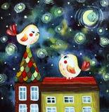 Illustration avec des oiseaux sur le toit illustration stock