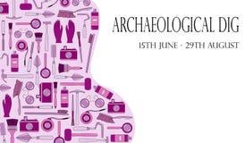 Illustration avec des outils de géologue, archéologue, constructeur Descripteur d'affiche illustration de vecteur