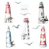 Illustration avec des phares et des mouettes d'aquarelle Photo stock