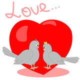 Illustration avec des pigeons image stock