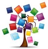 Illustration avec l'arbre et les boutons lumineux Photo stock