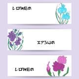 Illustration avec l'illustration de main-dessin, iris vectorisés Peinture de chinois traditionnel stylisée, sumi-e japonais d'art Photo stock