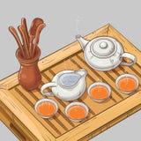 Illustration avec la cérémonie de thé Photos libres de droits