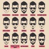 Illustration avec la collection de barbe des hommes sur le fond blanc Images libres de droits