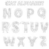 Illustration avec la partie d'alphabet latin, de N à Z, chat drôle de bande dessinée sous forme de lettres, livre de coloriage av illustration libre de droits