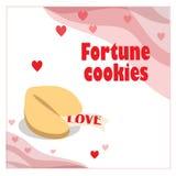 Illustration avec le biscuit de fortune avec des coeurs sur le fond blanc illustration stock
