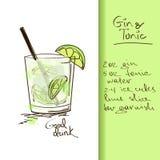 Illustration avec le cocktail de genièvre et de tonique illustration stock